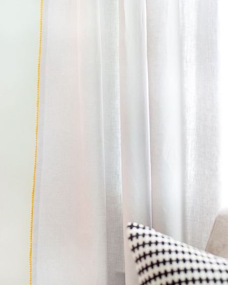 pom pom trim outside edge white curtains