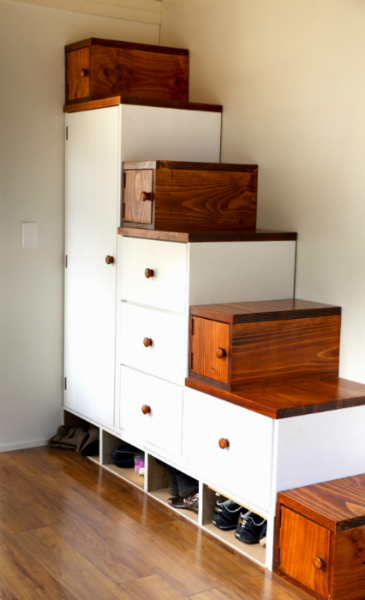 storage stairs Tiny House Lucy via DIY House Building