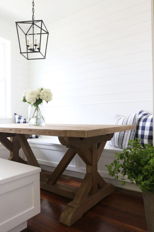 modern farmhouse rustic table with built-in banquette benches