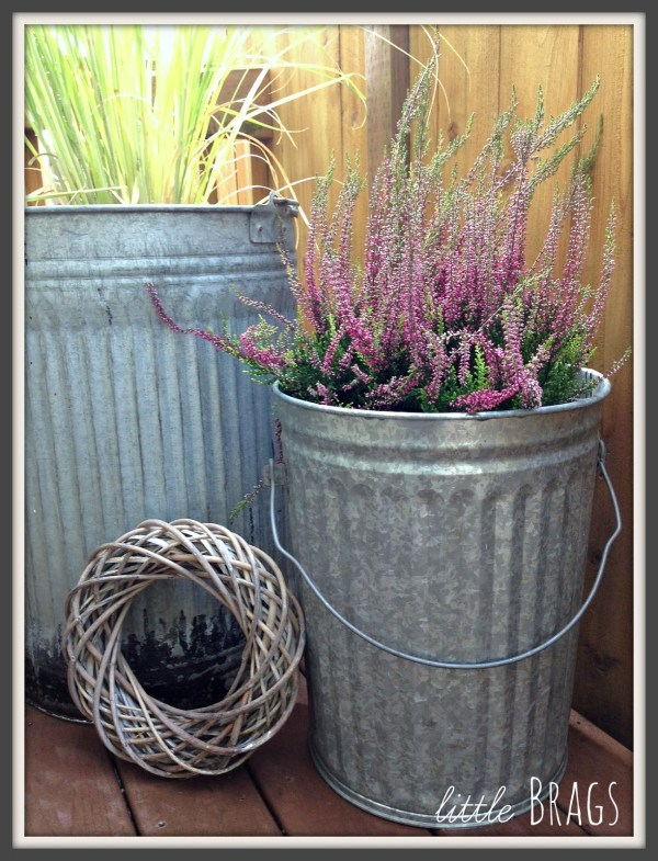 upcycled vintage trash can large outdoor planters Little Brags