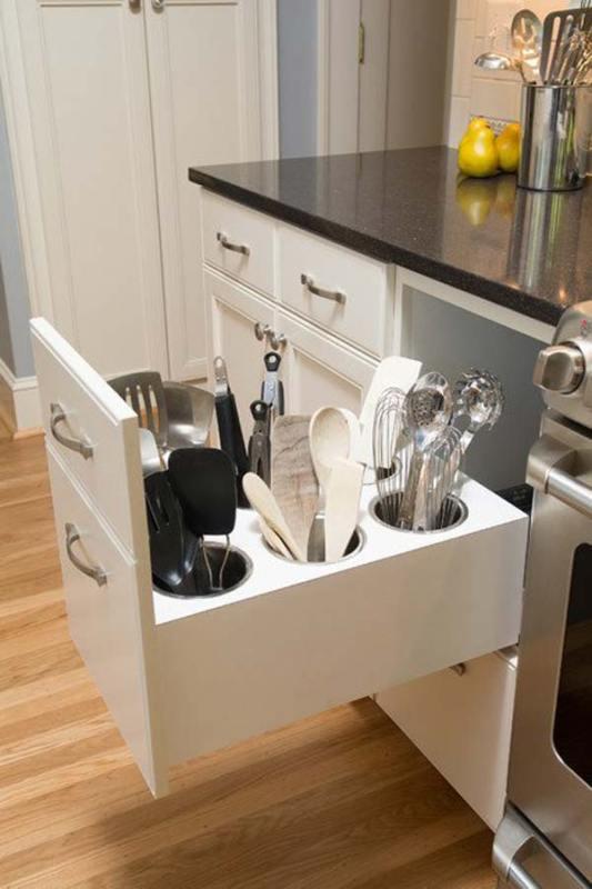 vertical utensil storage drawer