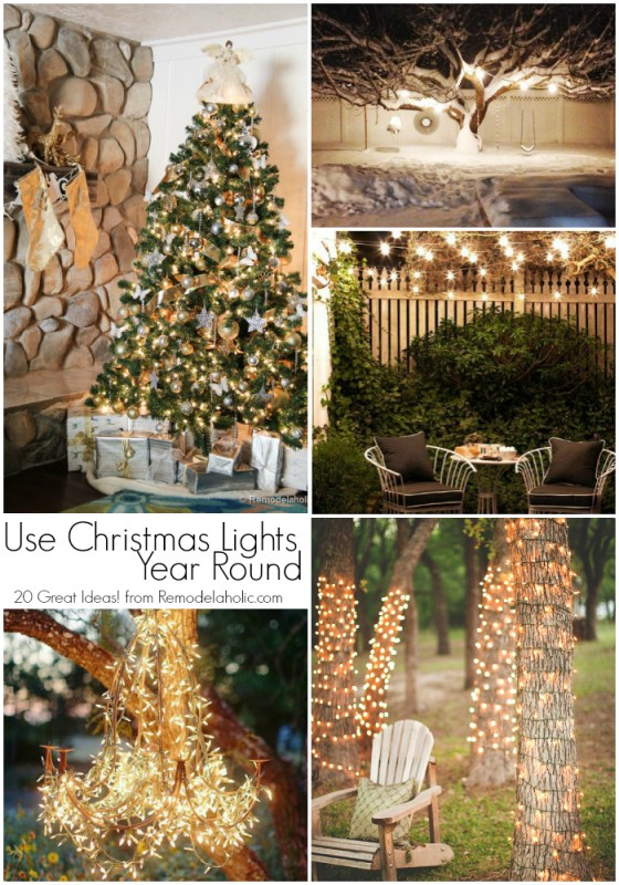 20 Great Uses for Christmas Lights YEAR ROUND! Those inexpensive light strings aren't just for the tree at Christmas. Use these ideas to to make them a highlight of your yard all through the summer, too!