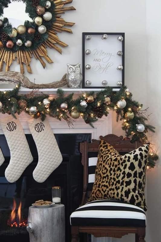 black and gold Christmas mantel