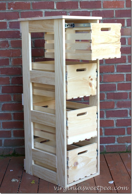 DIY crate storage cabinet with sliding drawers Virginia Sweet Pea