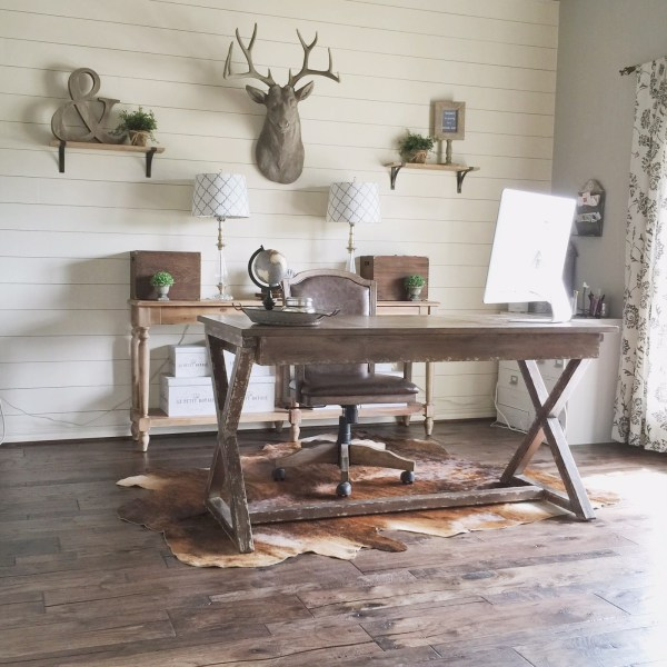 DIY shiplap wall in a rustic home office makeover, Jillify on @Remodelaholic