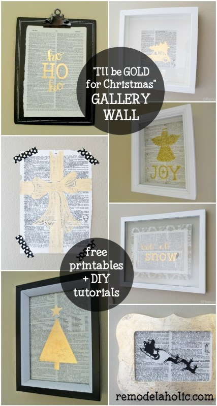 """""""I'll be GOLD for Christmas"""" Gold Christmas Gallery Wall with Free Printables and DIY Tutorials for 4 Different Gold Prints @Remodelaholic"""
