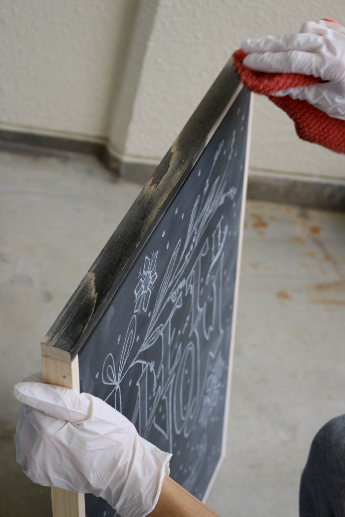 How to make a framed Chalkboard - Stain frame part 2