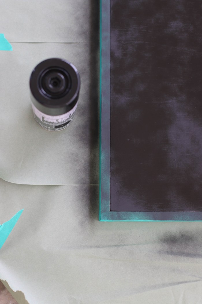 How to make a framed Chalkboard - spray paint the board