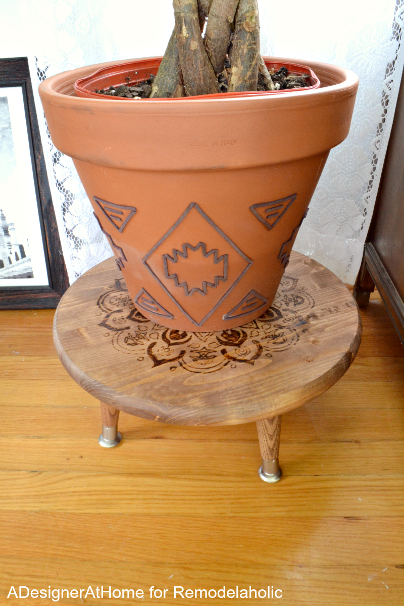 Easy DIY style! DIY suede planter, plus a wood-burned planter stand/ottoman