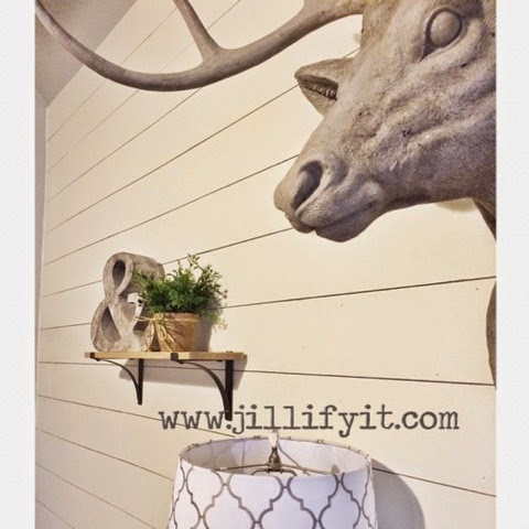 easy install do-it-yourself shiplap wall in a beautiful rustic home office, Jillify It on @Remodelaholic