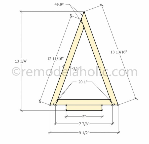front view dimensions Christmas Decor Triangle Tree