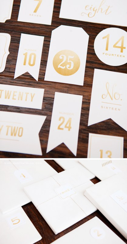 gold printable christmas countdown advent tags Simple As That Blog