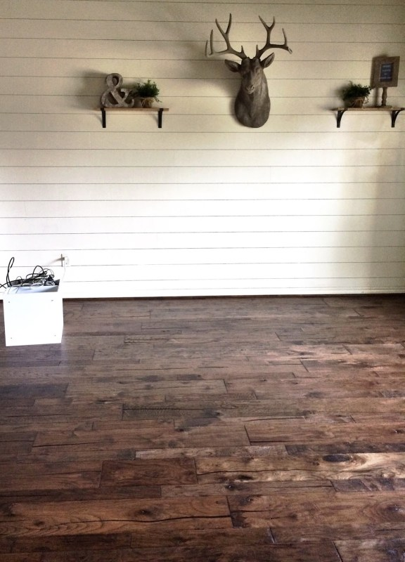 home office makeover with white shiplap walls and dark hickory wood floors, Jillify It on @Remodelaholic