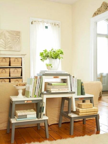 ikea bekvam stool hack, stacked bookshelf