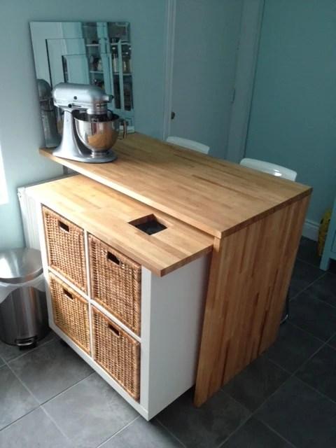 ikea kitchen hack kallax rolling island