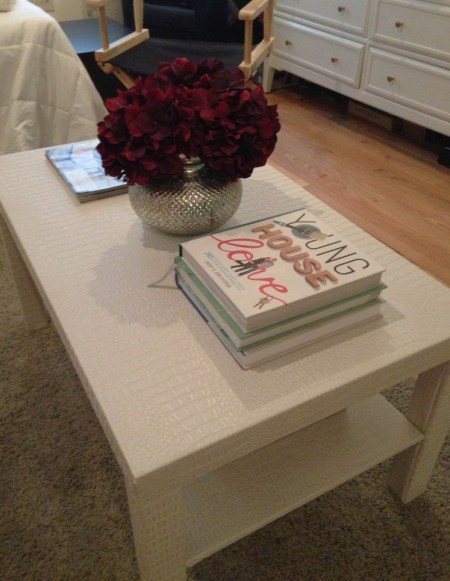 lack coffee table hack faux leather gator fabric