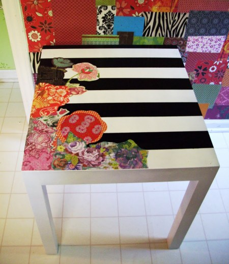 lack side table hack stripes flowers decoupage