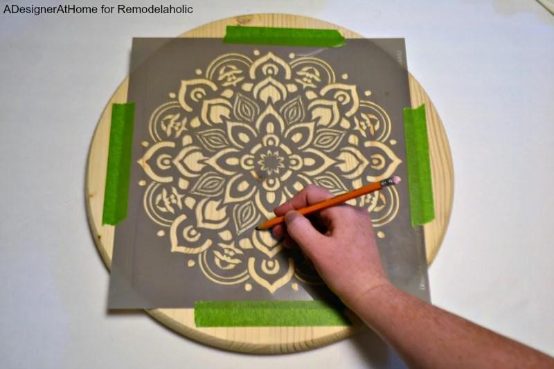 mandala-stencil-taped-wood-precut-round-circle-trace-pencil