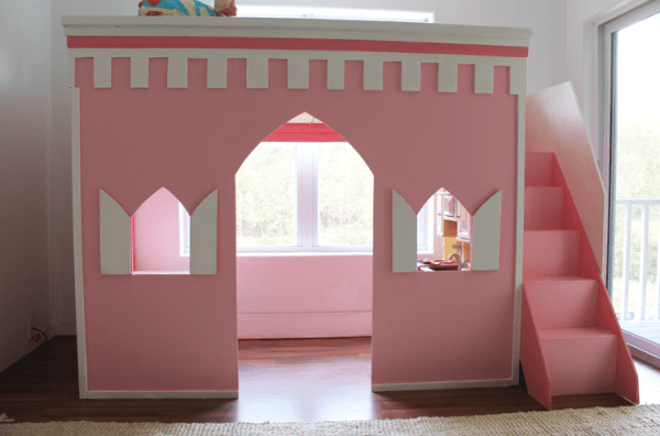 Adorable Castle and Playhouse Style Loft Bed to Build featured on Remodelaholic.com