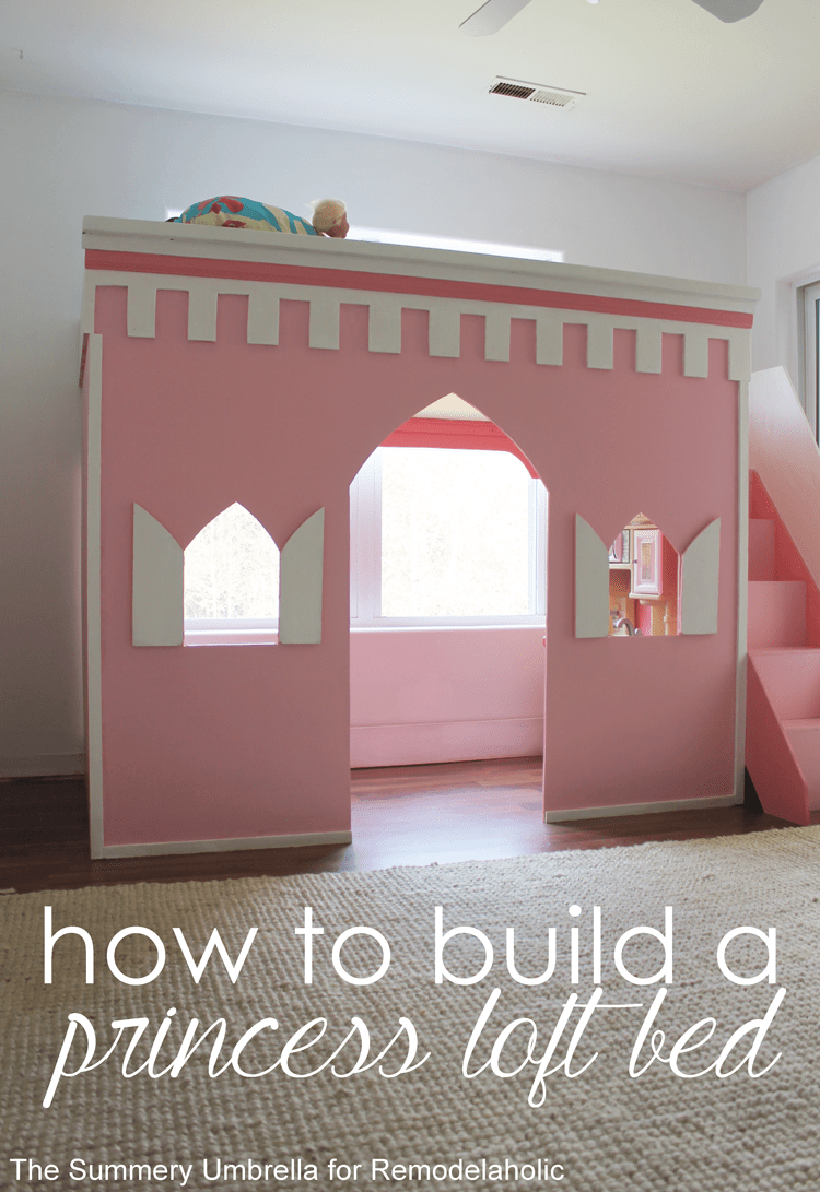 How to build a castle loft bed -- great for a prince or princess! This is fun for a kids' bedroom, or it would make an awesome playhouse and reading nook, too!