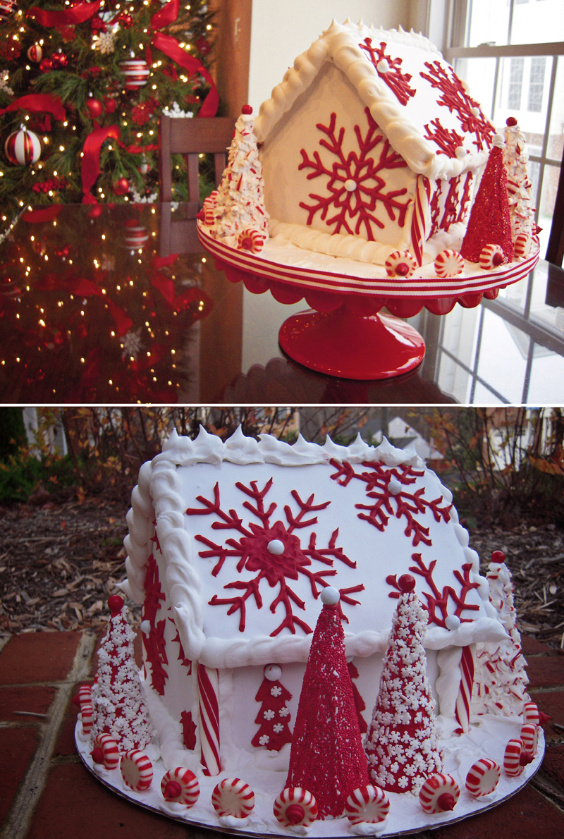 beautiful red and white inspiration gingerbread house