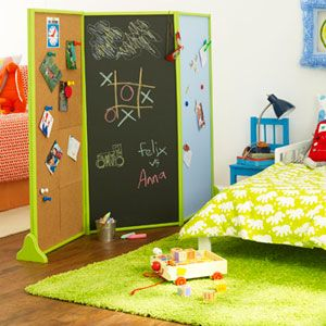 room divider kids room cork chalkboard magnetic panels