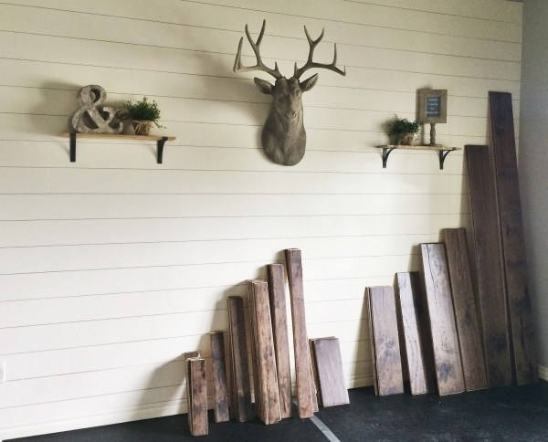 rustic home office makeover with DIY shiplap walls and dark handscraped hickory floors, Jillify It on @Remodelaholic