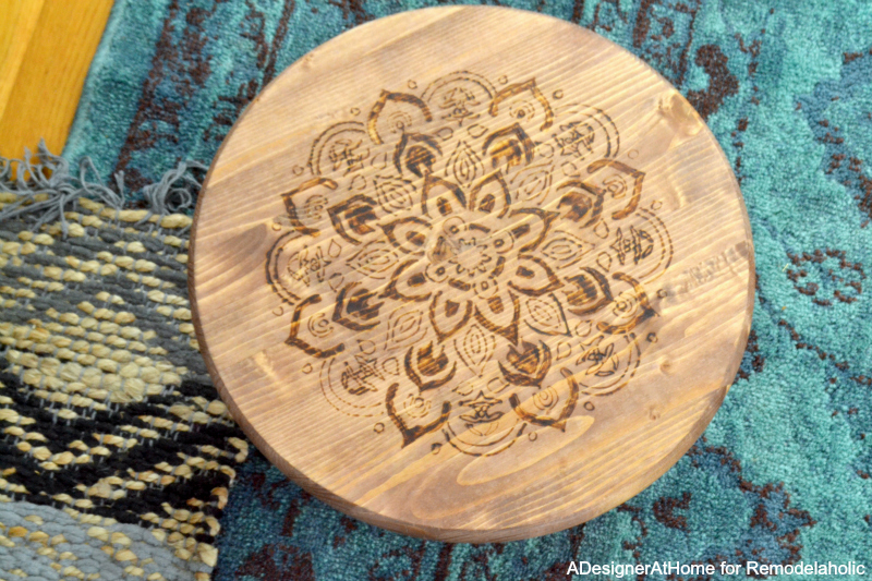 teal-rug-layered-mandala-stenciled-wood-burned-foot-stool-easy-diy