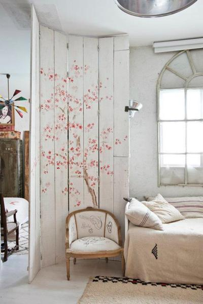 wood room divider painted art blossoms