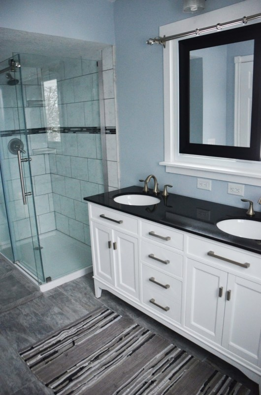Remodelaholic Master Bathroom Renovation With Sliding Mirror Over - Bathroom remodel gray and white