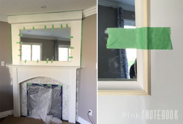 Cove molding as mirror frame, DIY mantel makeover Pink Little Notebook featured on @Remodelaholic