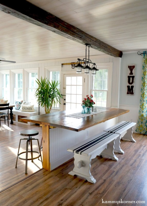 16 Sunroom and dining room renovation, built-in table made of reclaimed wood, by Kammy's Korner featured on @Remodelaholic