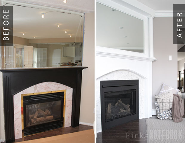 Before and After mantel makeover using mirror above fireplace Pink Little Notebook featured on @Remodelaholic