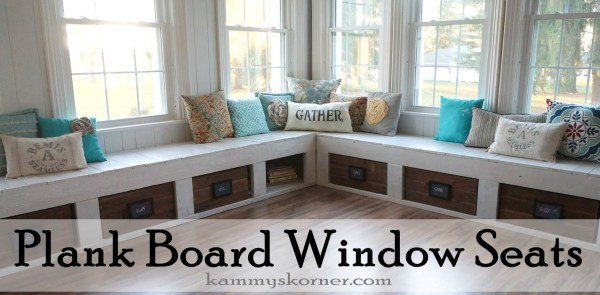 2 Sunroom renovation, window seats from reclaimed barn wood, by Kammy's Korner featured on @Remodelaholic