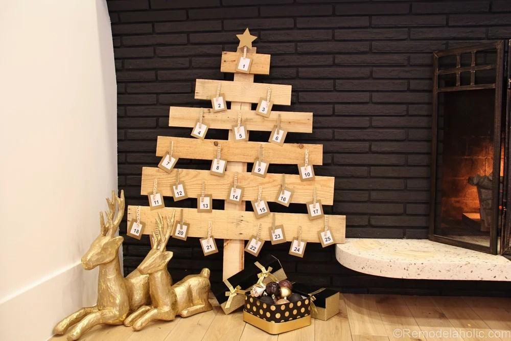 remodelaholic diy pallet wood christmas tree advent calendar; day 11Christmas Tree Advent Calendar Diagram #9