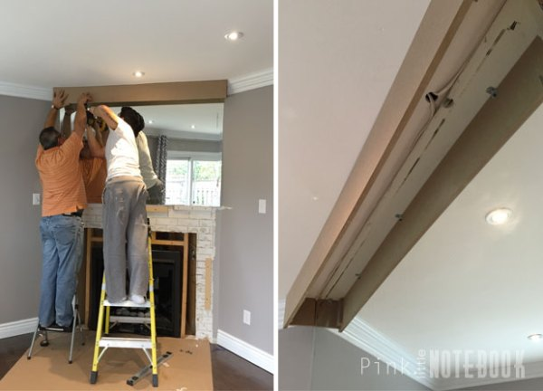 mini soffit for mantel redesign, diy fireplace makeover Pink Little Notebook featured on @Remodelaholic