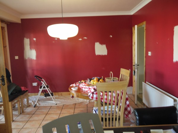 5 primer used over red to prep for painting white with Parisian Cream by Dulux, dining area makeover, Paint it White featured on @Remodelaholic