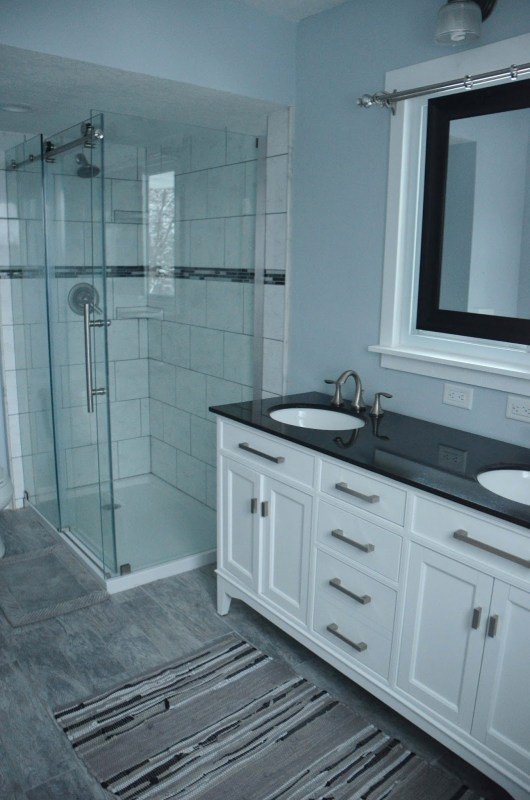 Master Bathroom Renovation, glass-walled shower, by Since I Became a Mom featured on @Remodelohic