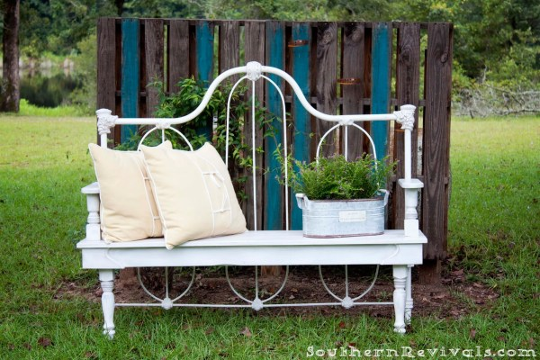 headboard garden bench Remodelaholic | 25 Headboard Benches + How to Make Your Own