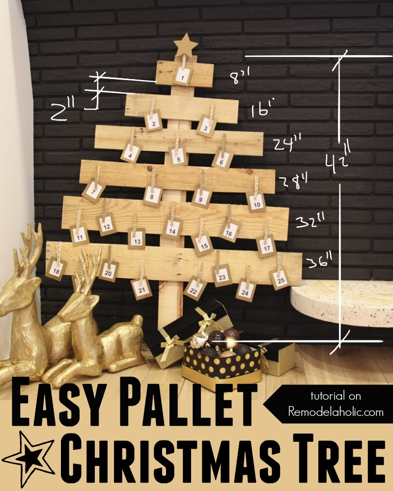 Remodelaholic | DIY Pallet Wood Christmas Tree Advent Calendar; Day 11