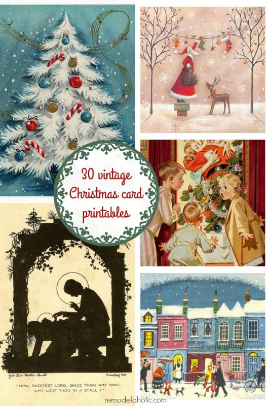 Free Vintage Christmas Card Printable Images. Frame these or make them into a garland!