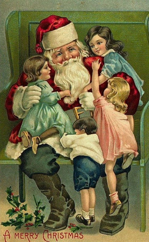 vintage freebie, Santa with the children