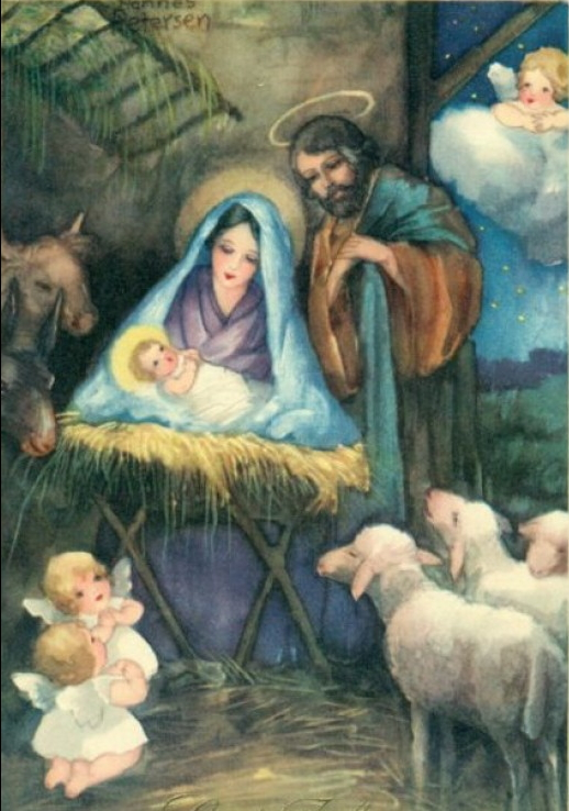 vintage nativity art