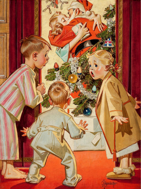 I saw Mommy kissing Santa Clause! vintage print image