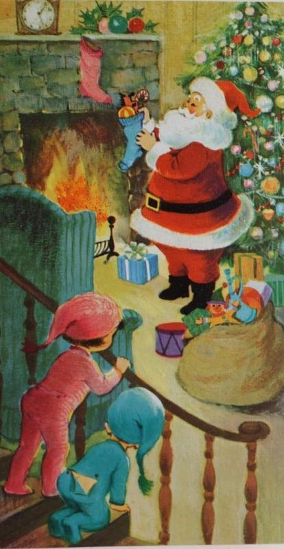 vintage Santa and kids art printable