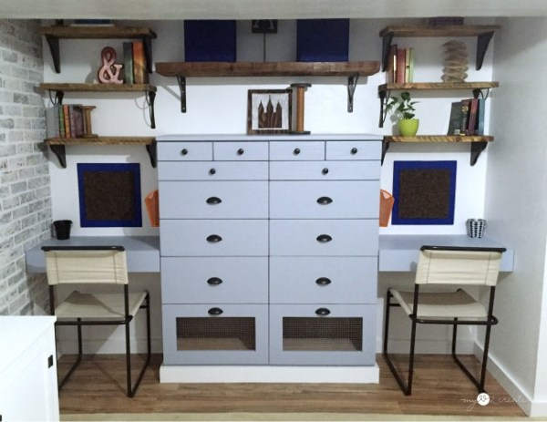 add extra drawer to a dresser -- perfect for storage between two desk spaces in a shared room. Mylove2create