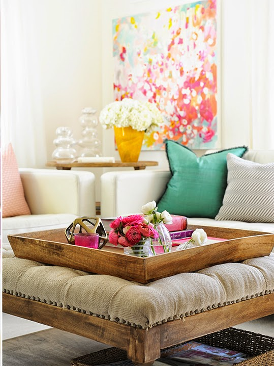 beautiful vibrant living room with wood upholstered ottoman and tray, Tracey Ayton via Decorology