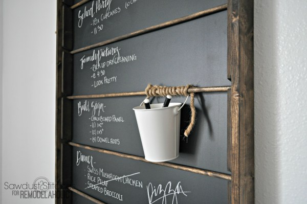 This wall-mount chalkboard organizer is awesome! Add a bucket for each family member or section of the chalkboard -- could hold keys, spare change, trinkets, etc.