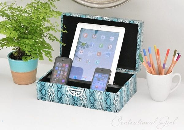 Diy Charging Station Decorative Box by centsational girl on Remodelaholic