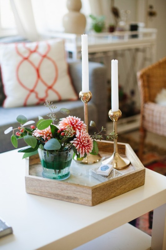hexagonal wood coffee table tray, The Glitter Guide